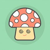 pic of magical-mushroom  - cute magic mushroom with spiral eyes vector illustration - JPG