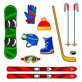 picture of ski boots  - Winter sports equipment icons set with snowboard - JPG