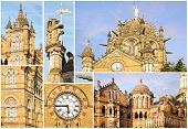 pic of british bombay  - Collage of the details of the Victoria Railway station - JPG