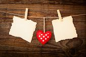 image of valentine heart  - Valentines Vintage Handmade Hearts over Wooden Background - JPG
