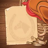 pic of wild west  - Wild west background with cowboy hat and american lasso - JPG