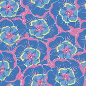 pic of hibiscus flower  - seamless blue background with blue hibiscus flowers - JPG