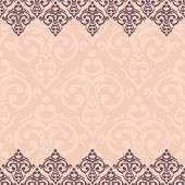 foto of damask  - Vector seamless pink baroque damask luxury background - JPG