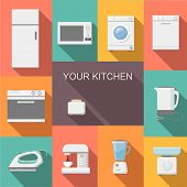 stock photo of kettling  - Set of kitchen appliances flat icons  with  a washing machine  stove  fridge iron  microwave scale  kettle  coffee machine and toaster - JPG