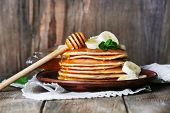 foto of mints  - Stack of pancakes with mint - JPG