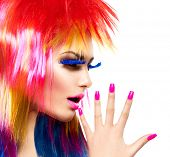 image of hair cutting  - Beauty Fashion Punk Model Girl with Colorful Dyed Hair - JPG