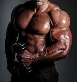foto of pectorals  - bodybuilder posing - JPG