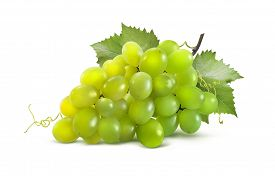 picture of grape  - Green grapes horizontal and leaves isolated on white background as package design element - JPG