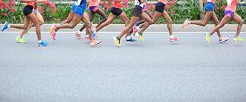 stock photo of competing  - Marathon running race - JPG
