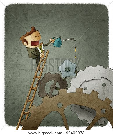 businessman oiling cogs
