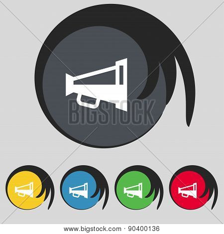 Megaphone Soon, Loudspeaker Icon Sign. Symbol On Five Colored Buttons. Vector