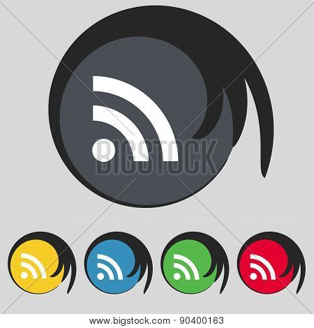 Rss Feed Icon Sign. Symbol On Five Colored Buttons. Vector