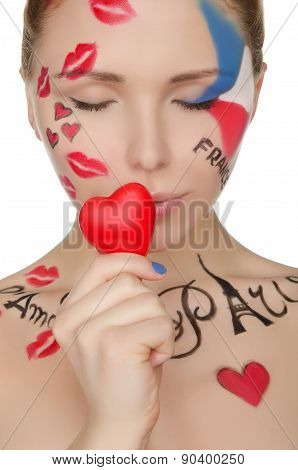 Beautiful Woman With Make-up On Topic Of France