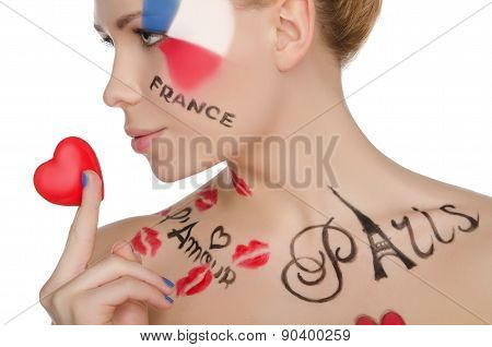 Charming Woman With Make-up On Topic Of France