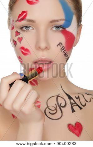 Beautiful Woman With Makeup On Theme Of Paris
