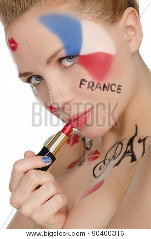 Portrait Of Happy Woman To French Theme