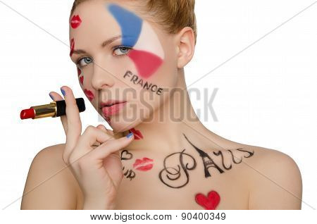 Happy Woman With Face Art On Theme Of Paris