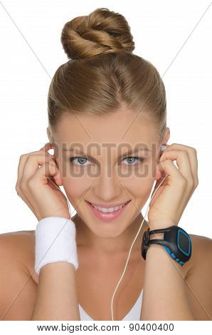 Portrait Of Woman With Headphones And Clock