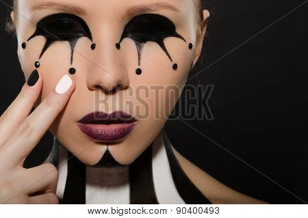 Portrait With Creative Black And White Makeup