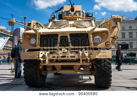 Front of the Oshkosh M-ATV military vehicle