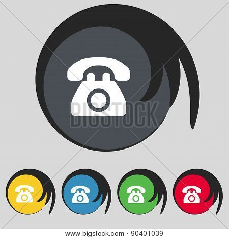 Retro Telephone Icon Sign. Symbol On Five Colored Buttons. Vector