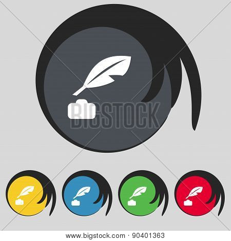 Feather, Retro Pen Icon Sign. Symbol On Five Colored Buttons. Vector
