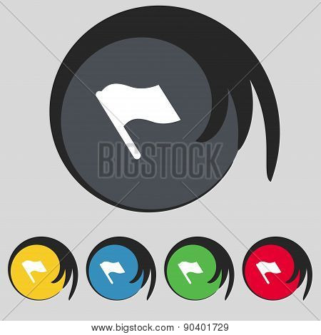 Finish, Start Flag Icon Sign. Symbol On Five Colored Buttons. Vector
