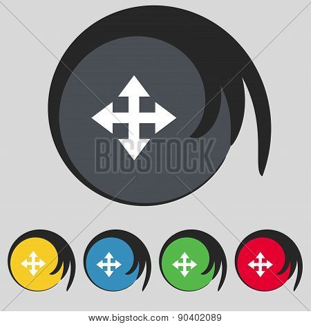 Deploying Video, Screen Size Icon Sign. Symbol On Five Colored Buttons. Vector