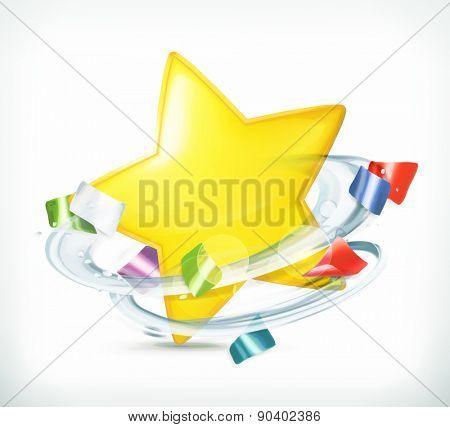 Party, star and confetti, vector icon