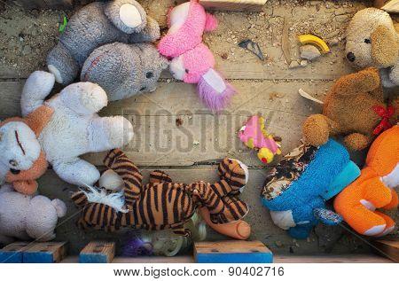 Old lose toys. Conceptual scene.