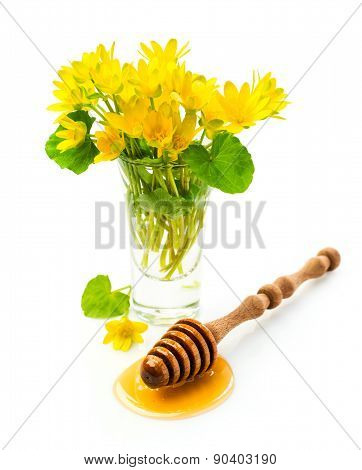 Honey With Wooden Dipper And Flowers