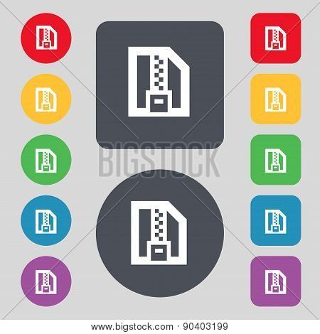 Archive File, Download Compressed, Zip Zipped Icon Sign. A Set Of 12 Colored Buttons. Flat Design. V