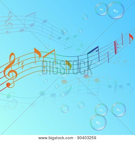 Treble Clef Musical Signs On A Blue Background