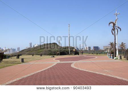 Brick Paved Walkway On Beach Promenade Durban, South Africa