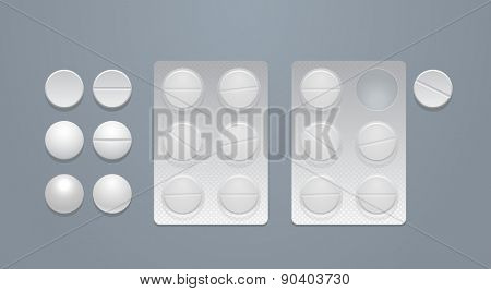 Vector round pills separately and in blister packs, eps10