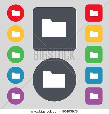 Document Folder Icon Sign. A Set Of 12 Colored Buttons. Flat Design. Vector