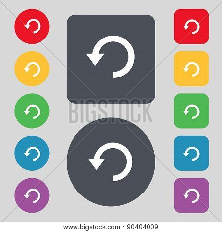 Upgrade, Arrow, Update Icon Sign. A Set Of 12 Colored Buttons. Flat Design. Vector