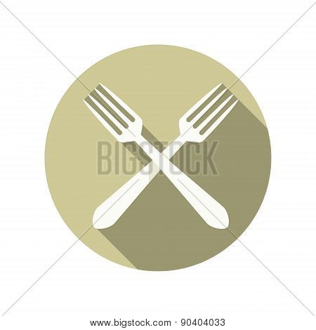 two forks crossed vector icon