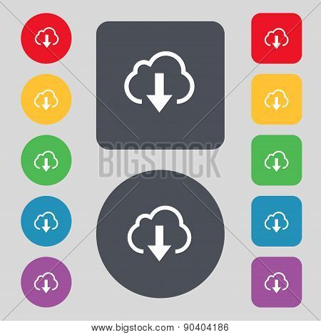 Download From Cloud Icon Sign. A Set Of 12 Colored Buttons. Flat Design. Vector