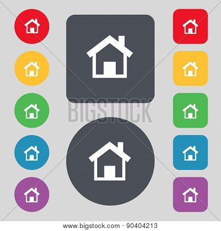Home, Main Page Icon Sign. A Set Of 12 Colored Buttons. Flat Design. Vector