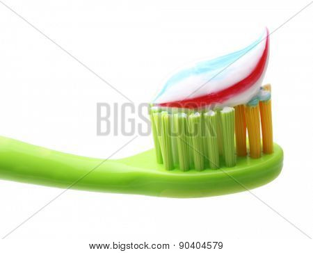 Tooth brush with tooth paste isolated on white background.