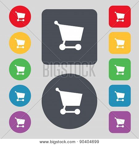 Shopping Basket Icon Sign. A Set Of 12 Colored Buttons. Flat Design. Vector