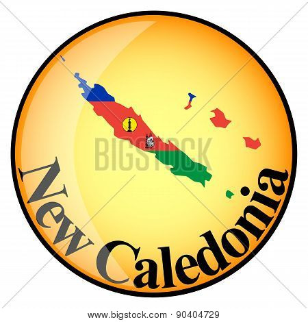 Orange Button With The Image Maps Of New Caledonia