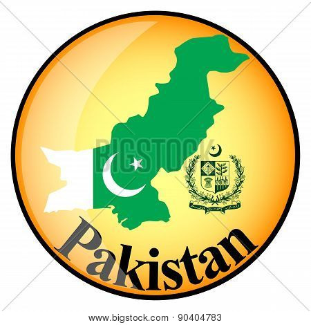 Orange Button With The Image Maps Of Pakistan