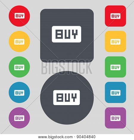Buy, Online Buying Dollar Usd  Icon Sign. A Set Of 12 Colored Buttons. Flat Design. Vector