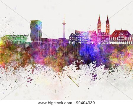 Bremen Skyline In Watercolor Background