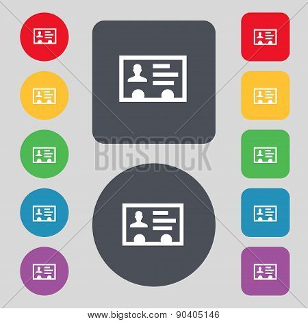 Id Card, Identity Card Badge, Cutaway, Business Card Icon Sign. A Set Of 12 Colored Buttons. Flat De