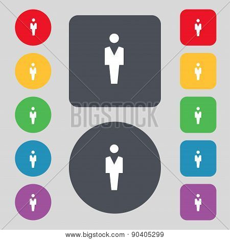Human, Man Person, Male Toilet Icon Sign. A Set Of 12 Colored Buttons. Flat Design. Vector