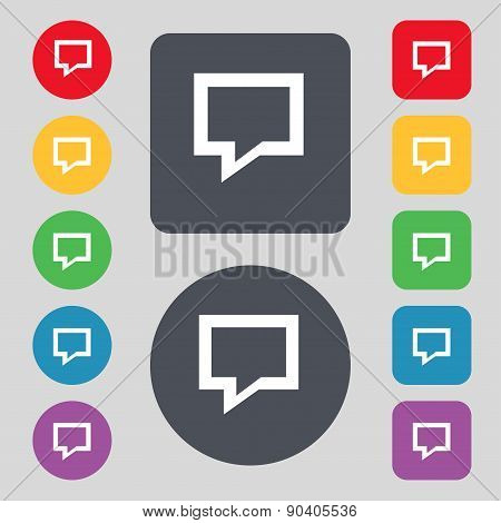 Speech Bubble, Think Cloud Icon Sign. A Set Of 12 Colored Buttons. Flat Design. Vector