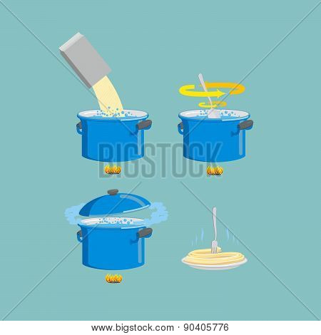 Instruction cooking vector illustration. Set pots infographics